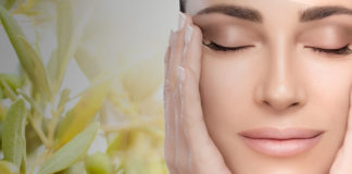 olio d'oliva su pelle viso