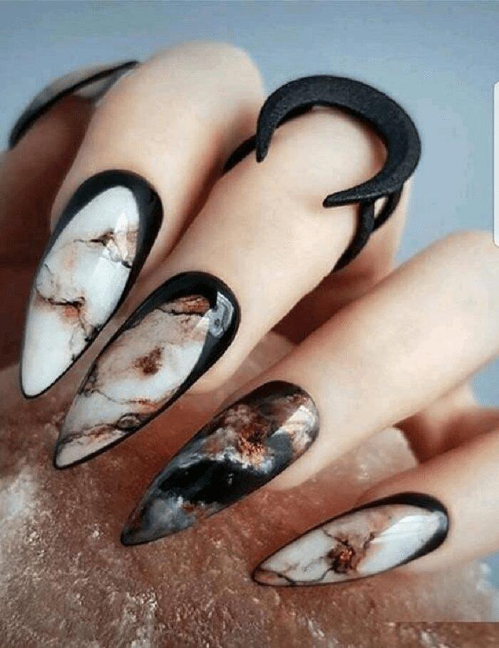 unghie effetto marmo tutorial